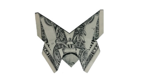 One-dollar bill and origami