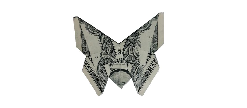 Origami butterfly made out of a one-dollar bill.