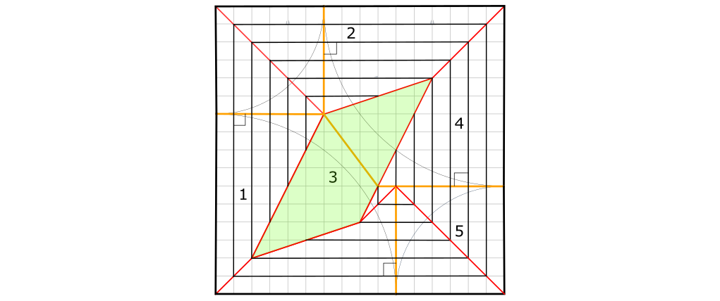 Crease pattern with sector 3 market in green.