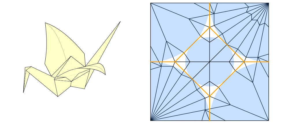 Traditional origami paper crane and something that resembles a crease pattern.