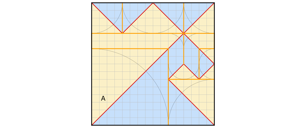 Crease pattern divided into the  sectors bounded by ridge crease.