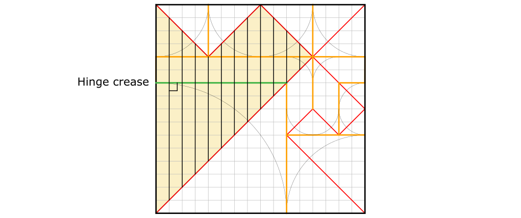 Crease pattern. Axial creases in the first sector.
