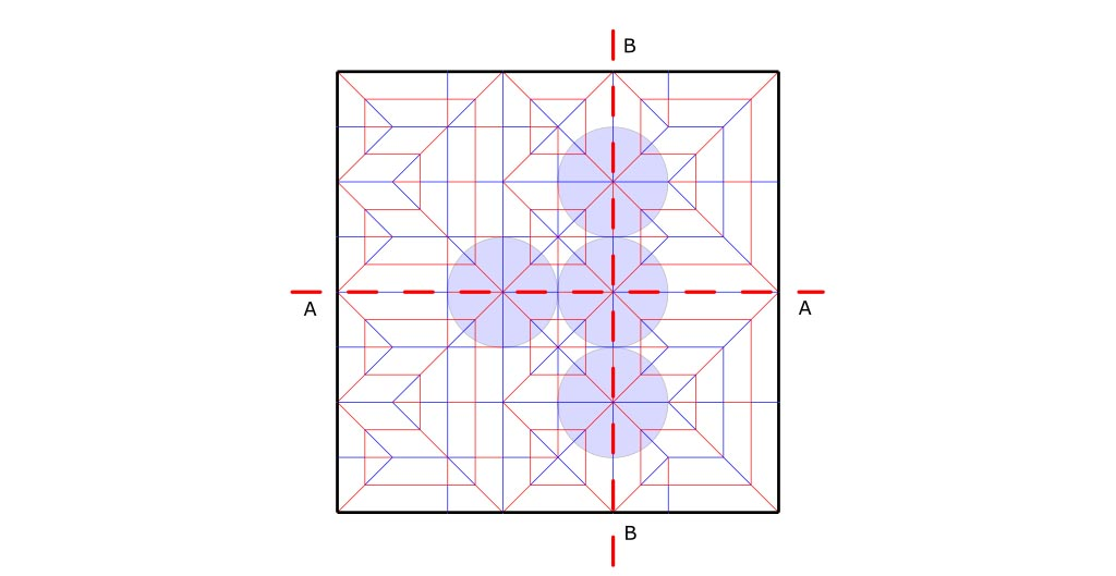 Axial lines that connect several central polygons