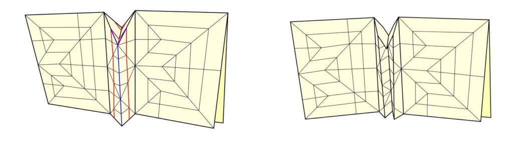 A simplified crease pattern collapsed