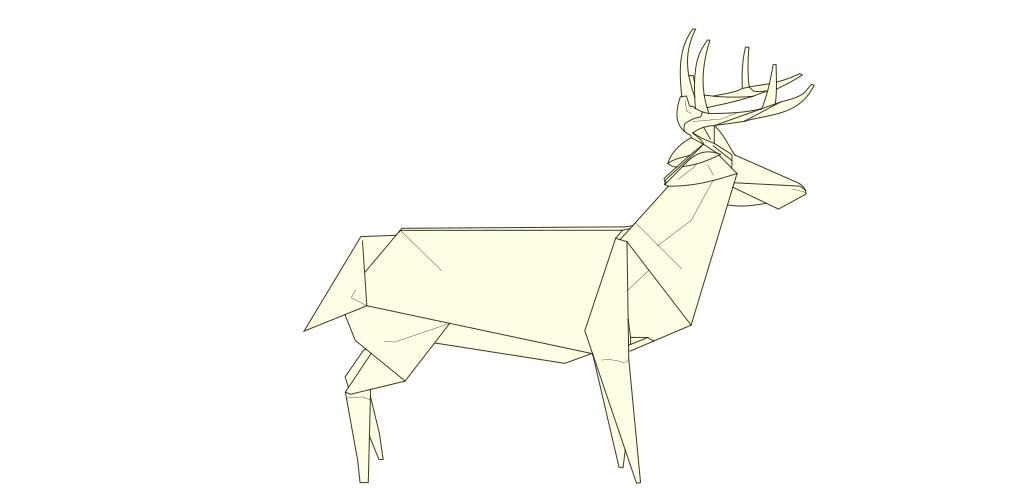 Whitetail deer model designed by Robert Lang