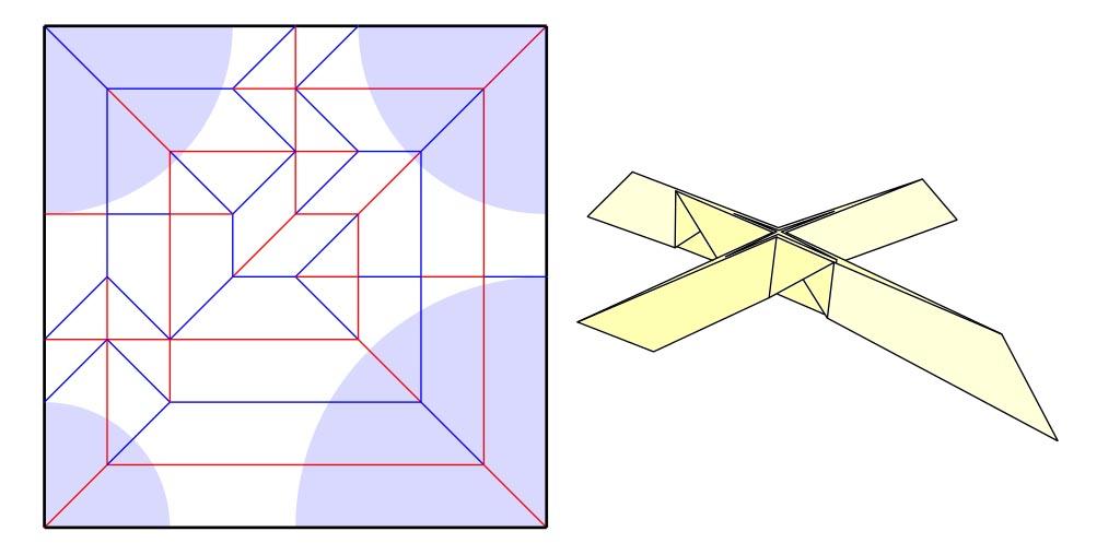 Box pleated nonuniaxial base