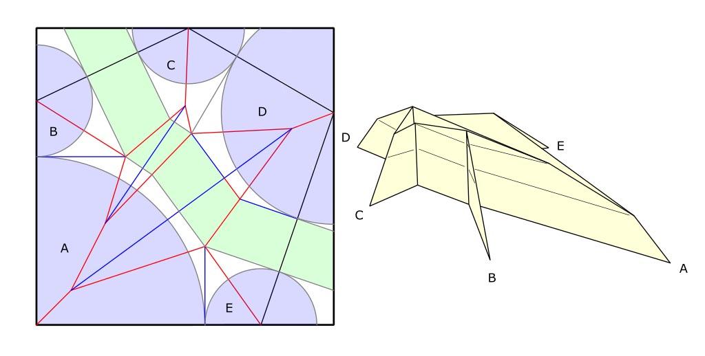 Folded base and crease pattern