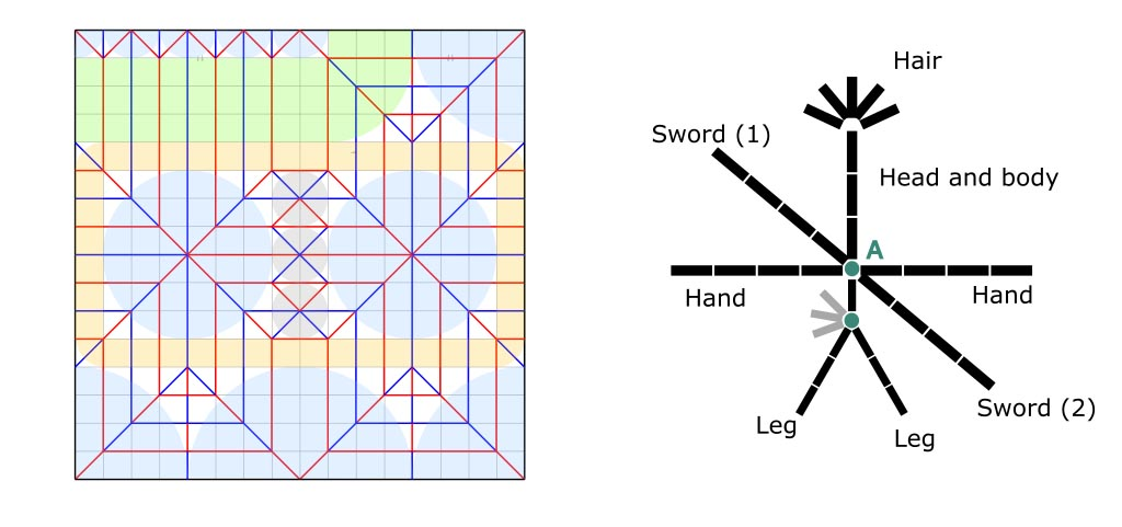 """""""Cloud Strife"""" from Final fantasy VII (Little warrior) - Crease pattern and stick figure."""