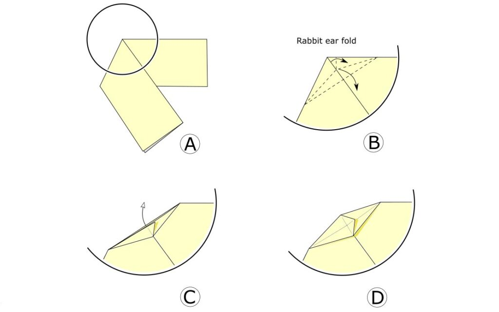 Origami unsink fold (simple example)