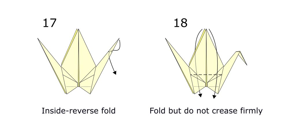 Traditional origami crane diagram (S10)