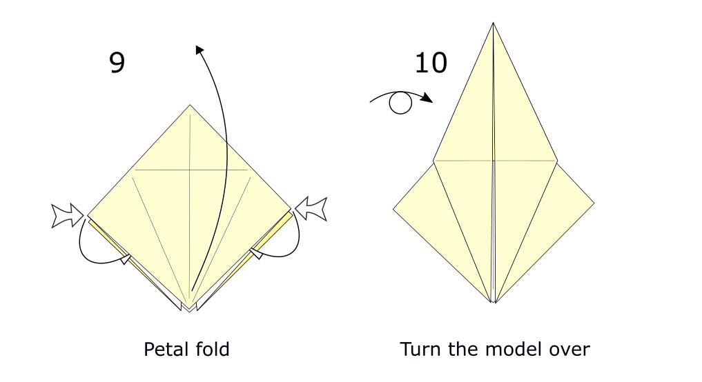 Traditional origami crane diagram (S5)