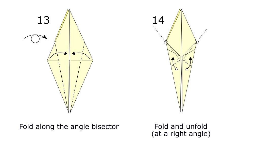 Traditional origami crane diagram (S8)