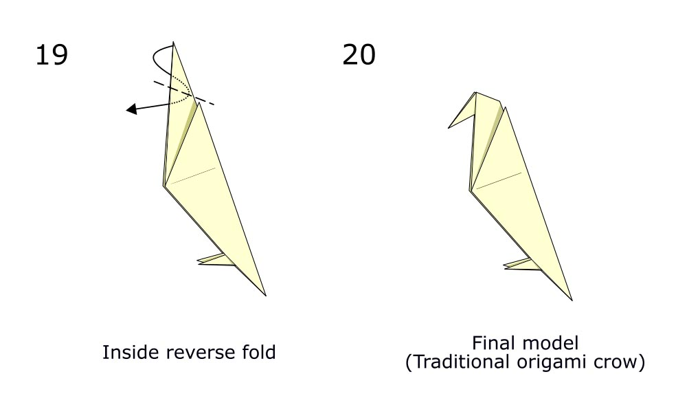 Traditional origami crow (diagram s10)