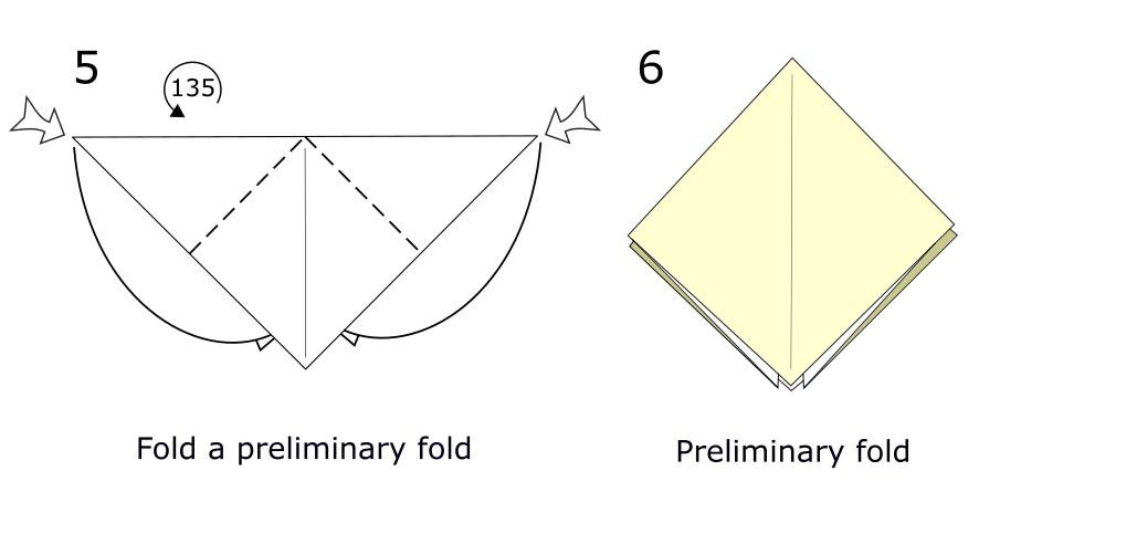 Traditional origami bird (diagram s3)