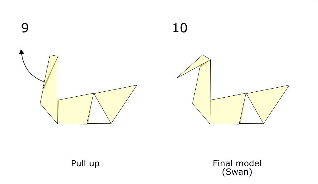 Traditional origami swan (diagram s5)
