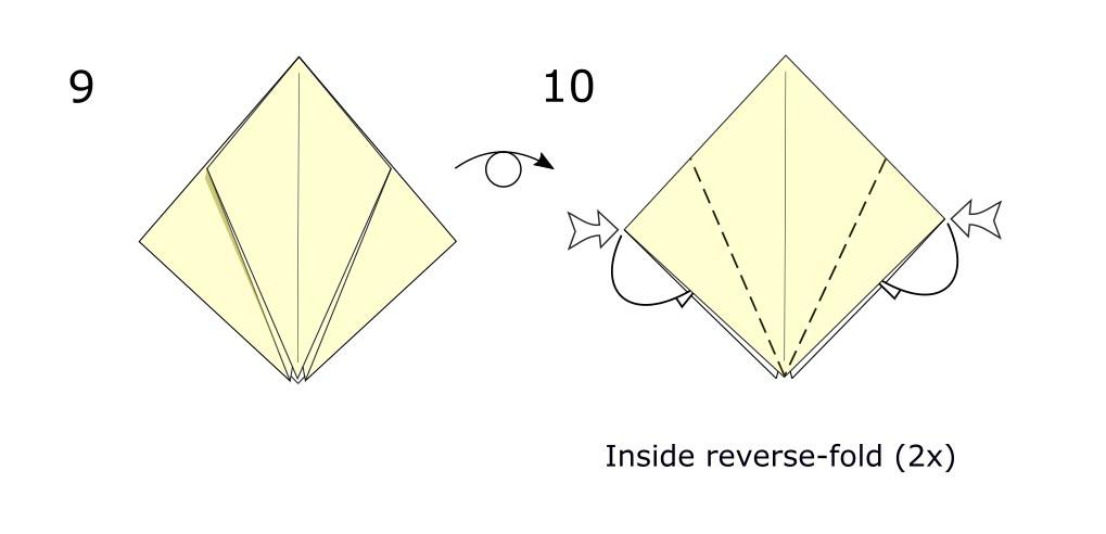 Traditional origami bird (diagram s5)