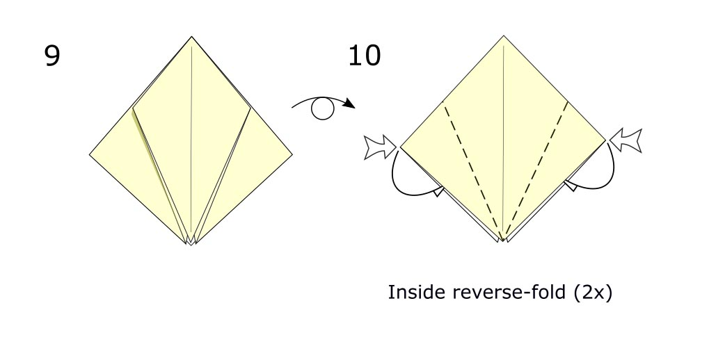 Traditional origami crow (diagram s5)