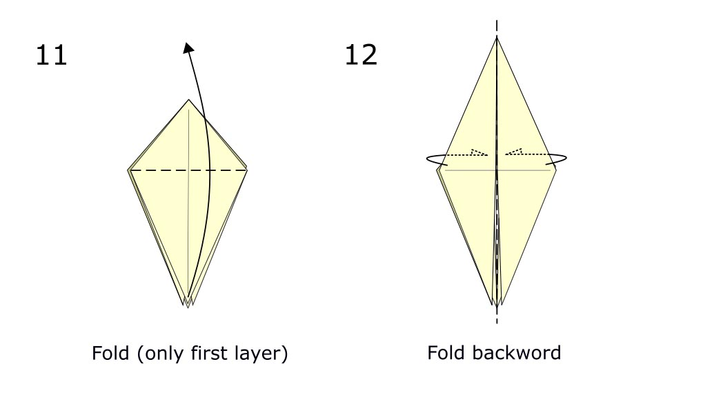 Traditional origami bird (diagram s6)