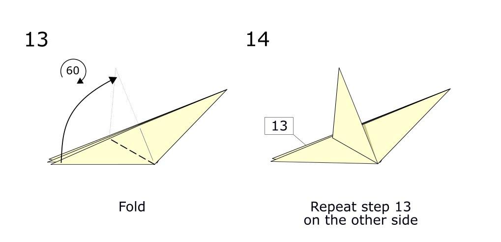 Traditional origami bird (diagram s7)