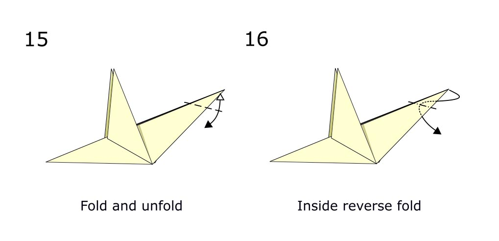 Traditional origami bird (diagram s8)