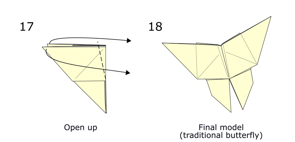 Traditional origami butterfly (diagram s9)