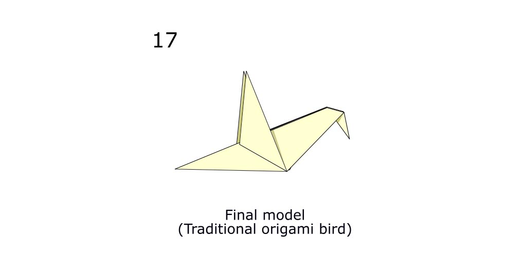 Traditional origami bird (diagram s9)