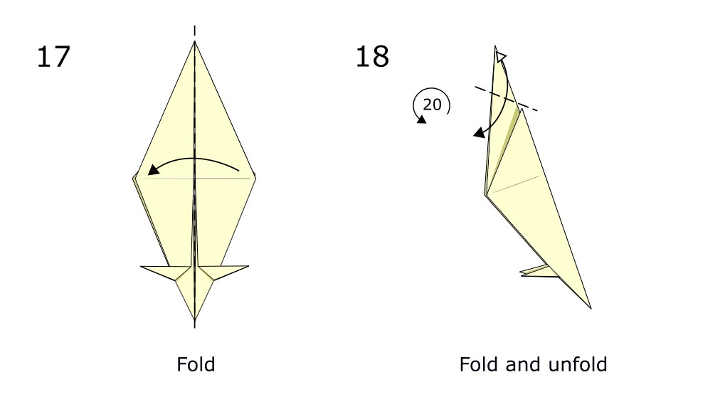 Traditional origami crow (diagram s9)